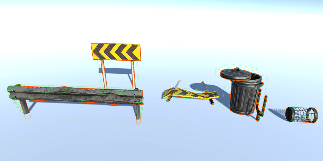 modeling and physics setup for destructible and deformable object, buildings